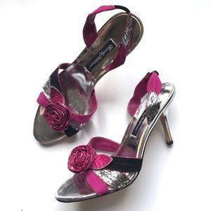 Beverly Feldman Rose Accented Heels